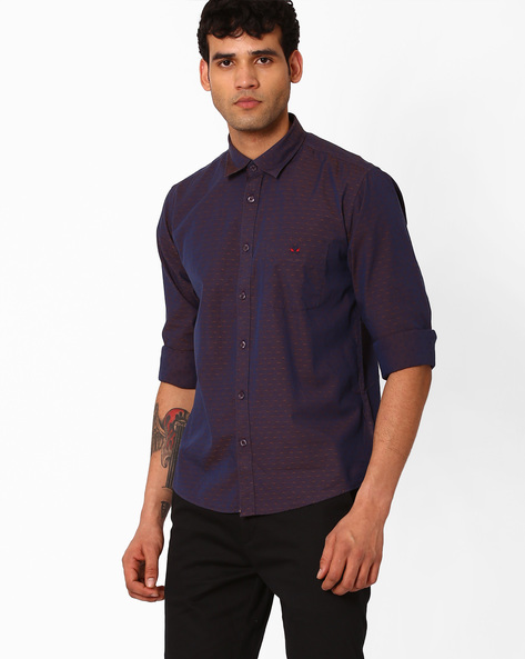 Printed Slim Fit Shirt By CRIMSOUNE CLUB ( Brown )