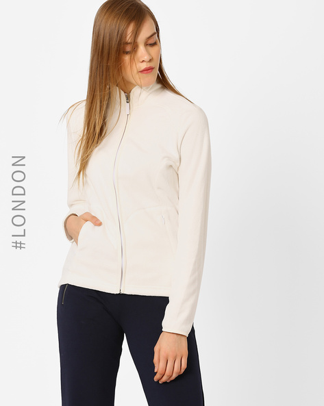 Hooded Sweatshirt With Zip Pockets By Marks & Spencer ( White )