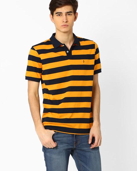 Striped Polo T-shirt By INDIAN TERRAIN ( Orange )