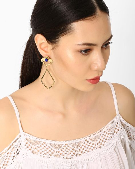 Drop-Earrings With Lapis Stone By AJIO ( Gold )