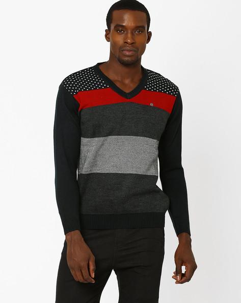 Colourblock V-neck Sweater By DUKE ( Charcoal )