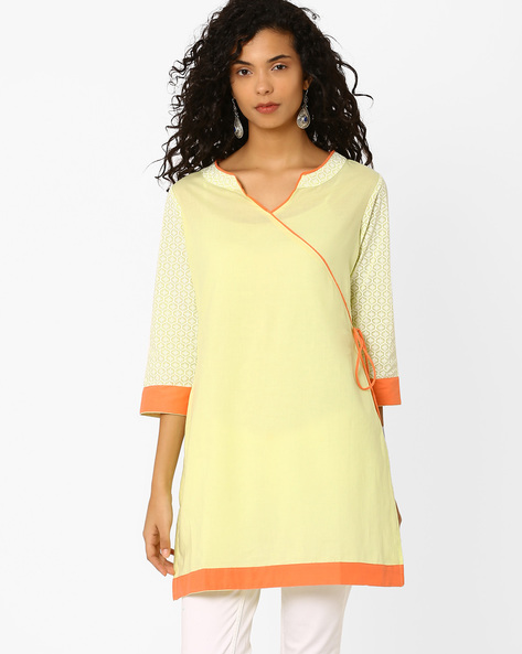 Angrakha Kurta With Printed Sleeves By AJIO ( Mint )
