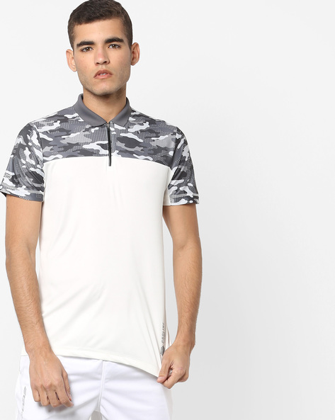 Colourblock Polo T-shirt With Zip Placket By PROLINE ( Offwhite )