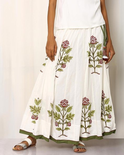Handblock Print Cotton Long Skirt By Pink Lemon ( White ) - 460016554001