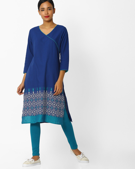 Straight Kurta With Printed Panel By Melange By Lifestyle ( Blue )