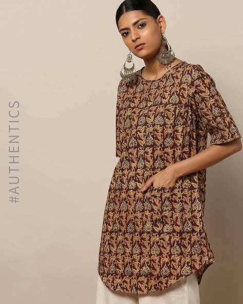 Handblock Print Embroidered Cotton Tunic By Indie Picks By AJIO ( Beige )