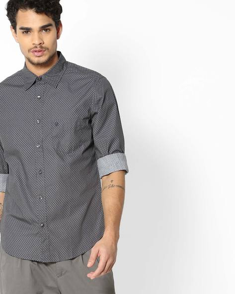 Printed Slim Fit Shirt With Patch Pocket By UNITED COLORS OF BENETTON ( Grey )