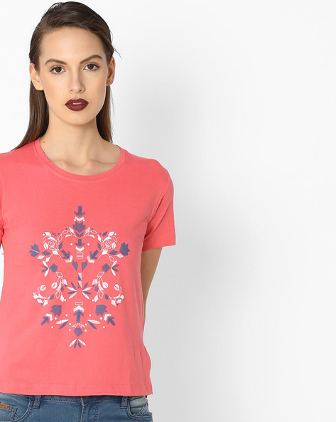 Abstract Print Cotton T-shirt By Alibi ( Pink )