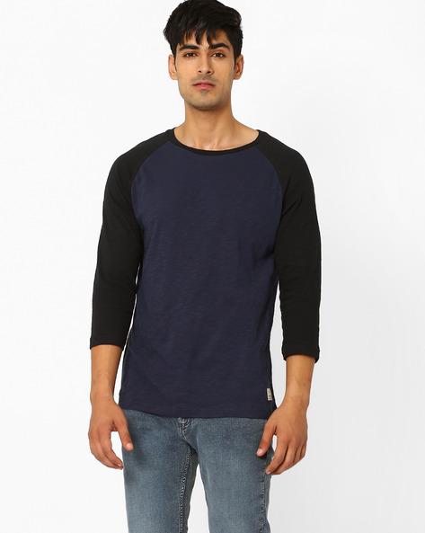 Crew-Neck T-shirt With Raglan Sleeves By Jack & Jones ( Indigo )