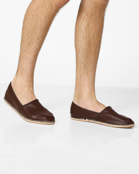 Panelled Espadrilles With Perforated Upper By AJIO ( Coffee )
