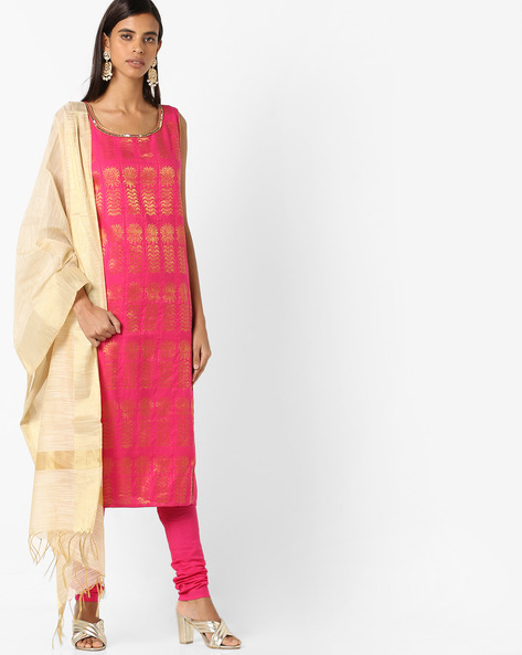 Printed Straight Kurta Suit Set With Dupatta By AURELIA ( Pink )