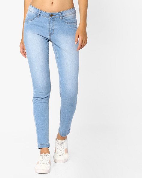 Mid-Rise Slim Fit Jeans By Ginger By Lifestyle ( Lightblue )