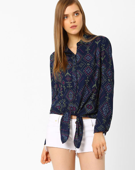 Printed Top With Button Placket By CHM ( Navy )