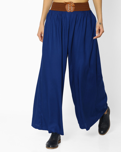 Palazzos With Elasticated Waist By FUSION ( Navy )