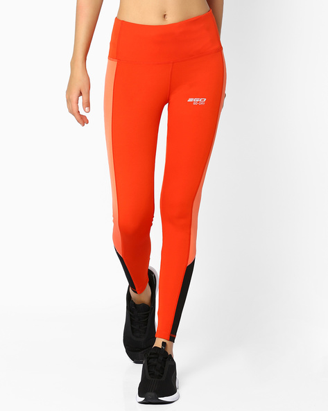 High-Rise Leggings With Contrast Panels By 2Go ( Orange )