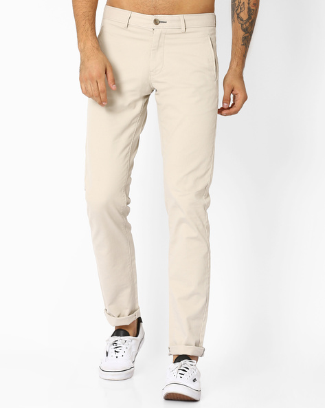 Tapered Fit Sand Shell Dobby Chinos By BASICS ( Aqua )