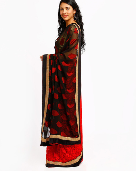 Georgette Saree By Mrignain ( Red )