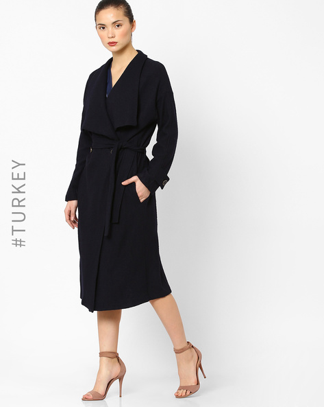 Double-Breasted Wrap Coat By Closet London ( Navyblue )