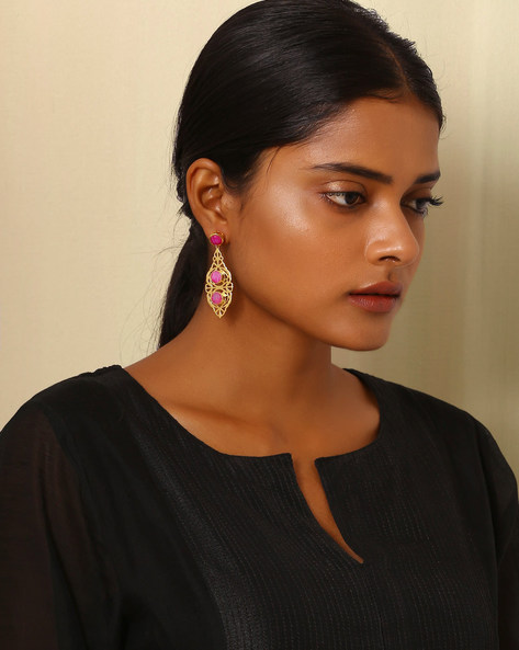 Gold-Plated Brass Drop-Earrings By Indie Picks ( Multi ) - 460045183001