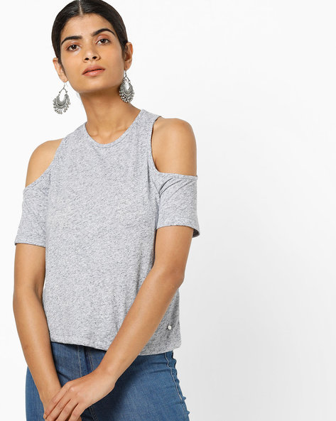 Heathered Top With Cold-Shoulder Sleeves By Only ( Blue )