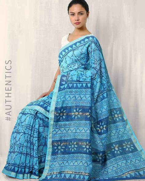 Printed Maheshwari Saree With Zari Border By Indie Picks ( Lightblue ) - 460015932001