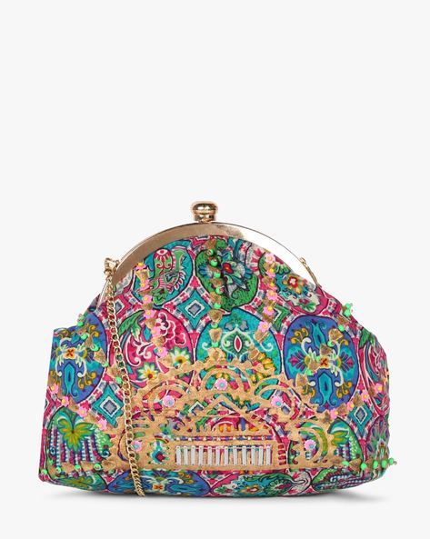 Printed Sling Clutch With Hand Embroidery By Neonia ( Multi ) - 460187217001