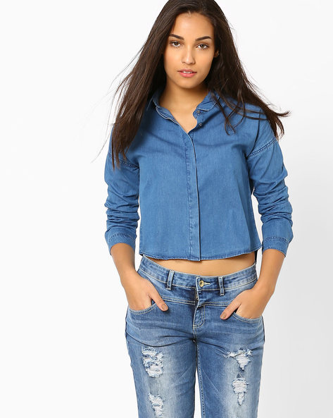 Crop Denim Shirt By AJIO ( Blue )