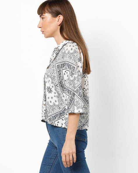 Printed Shirt With Flared Sleeves By AJIO ( White )