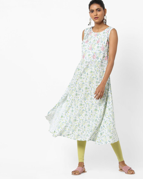 Floral Print Flared Kurta With Embroidery By AJIO ( Ivory )