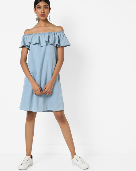 Off-Shoulder Shift Dress With Ruffles By AJIO ( Lightblue )