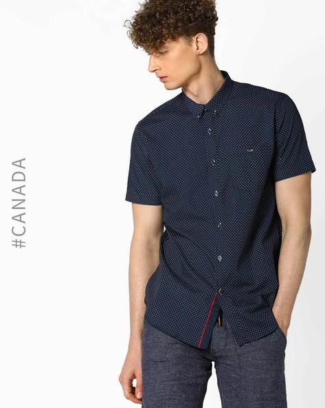 Printed Semi Fit Shirt With Patch Pocket By Point Zero ( Navy )