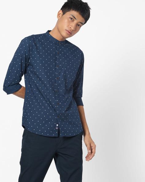 Geometric Print Shirt With Mandarin Collar By NETPLAY ( Navy )