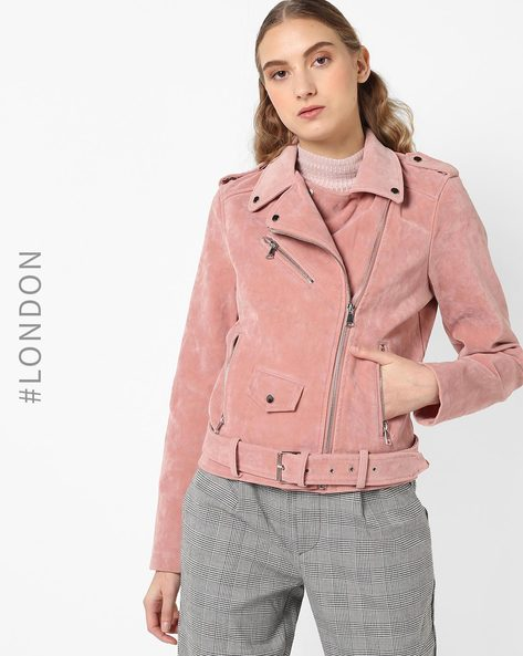 Biker Jacket With Notched Lapels By Glamorous ( Pink )