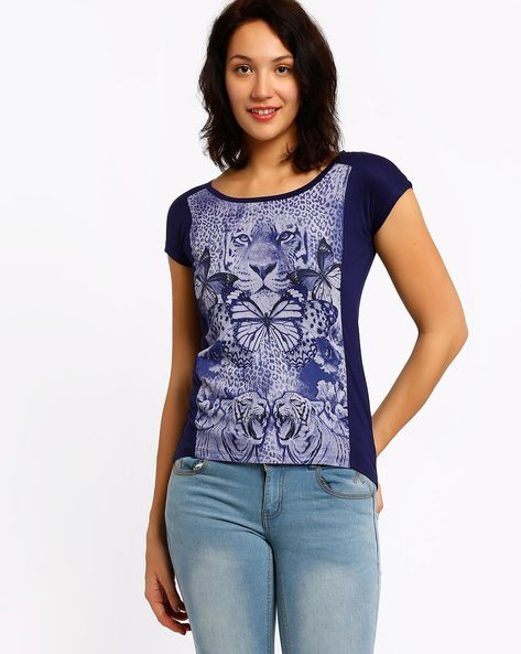 Printed Top By SF Jeans By Pantaloons ( Navyblue )