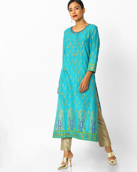 Floral Print Straight Kurta By Melange By Lifestyle ( Turqouise )