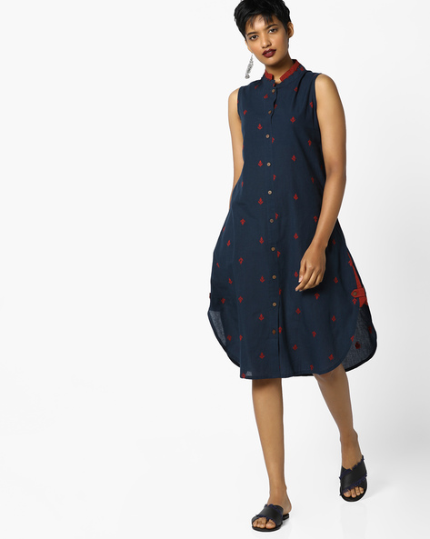 Jaquard Shirt Tunic With Woven Motifs By PE IW Fusion ( Blue )