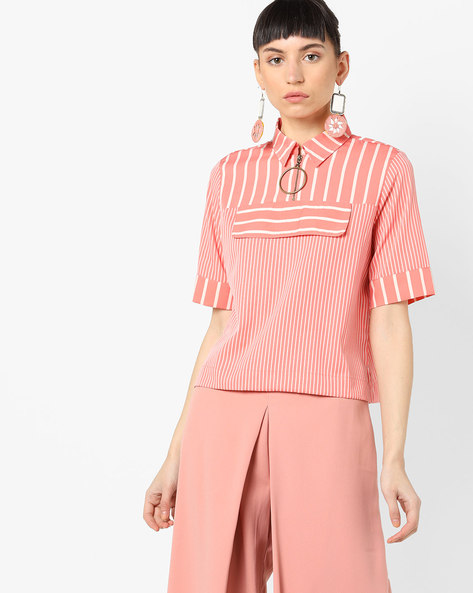 Stripe Top With Shirt Collar By AJIO ( Coral )