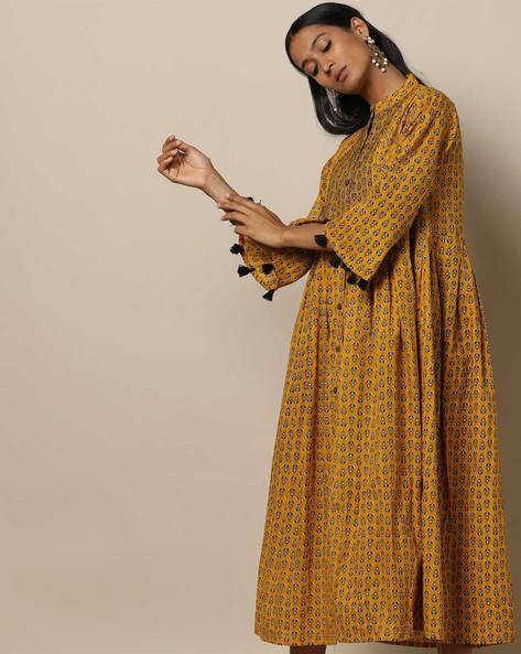 Printed Cotton Pleated Long Dress With Pintucks By Seasons ( Yellow )