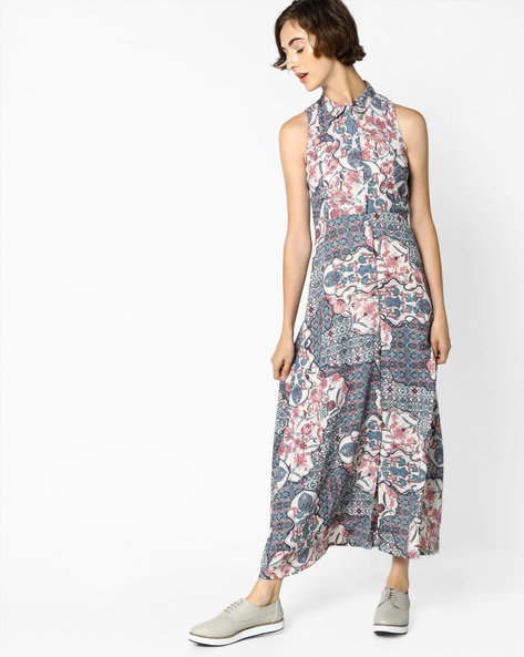 Printed Dress With Front Slit By CODE By Lifestyle ( Beige )