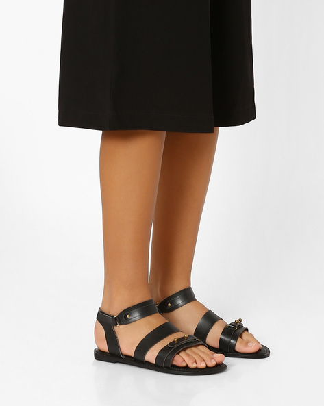 Faux-Leather Flats With Ankle Strap By AJIO ( Black )
