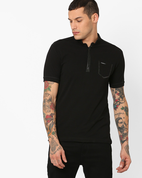Cotton T-Shirt With Band Collar By MUFTI ( Black )