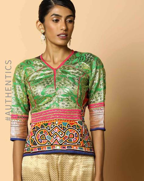 Kutch Embroidered Backless Blouse By Indie Picks ( Multi ) - 460103657001