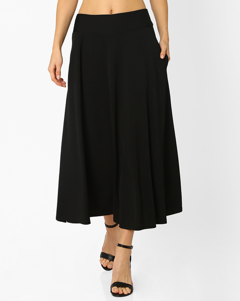 Flared Midi Skirt With Pockets By And ( Black )