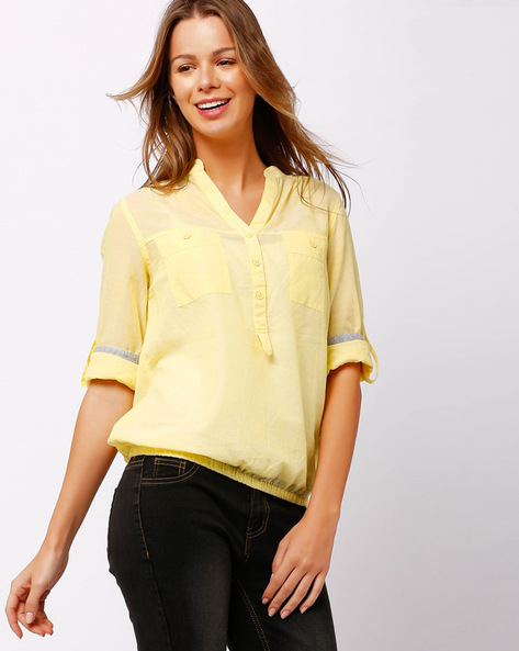 Shirt With Roll-Up Sleeves By FIG ( Yellow )