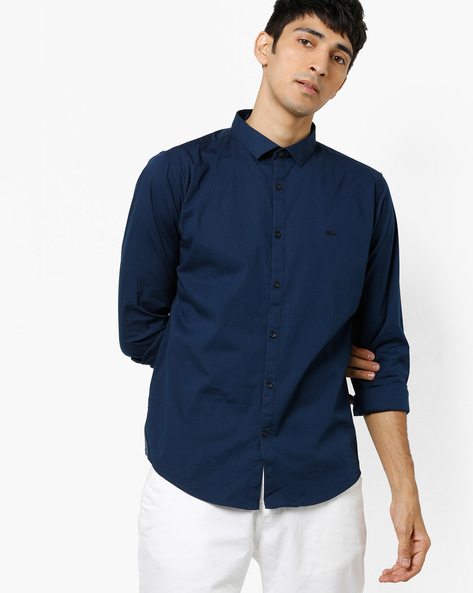 Slim Fit Shirt With Curved Hemline By BASICS ( Navy )