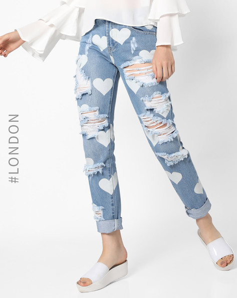 Printed Mid-Rise Distressed Jeans By Glamorous ( Multi )