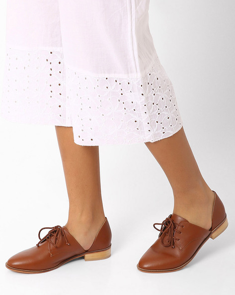 Genuine Leather Cut-Out Derby Shoes By Inara ( Tan )
