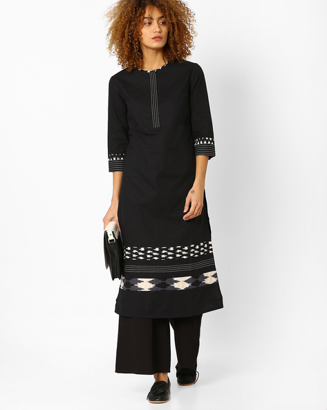 Straight Kurta With Print Detail By AJIO ( Black )