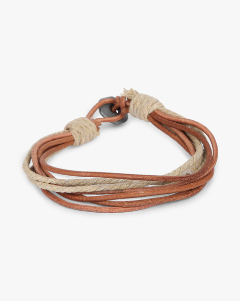 Braided Bracelet With Metal Accent By ALPHA MAN ( Beige )