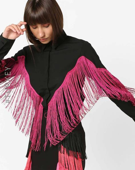Full-Sleeves Shirt With Contrast Fringes By TRENDYOL ( Black )
